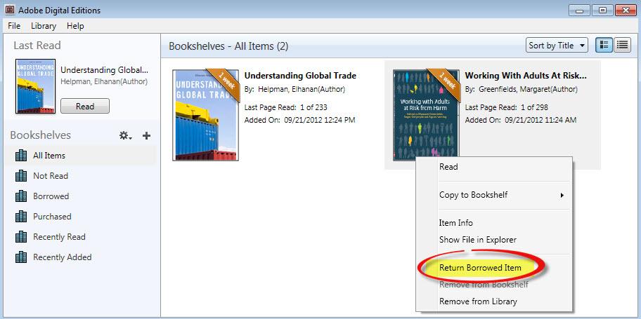 A screenshot of the Return Borrowed Item button in Adobe Digital Editions
