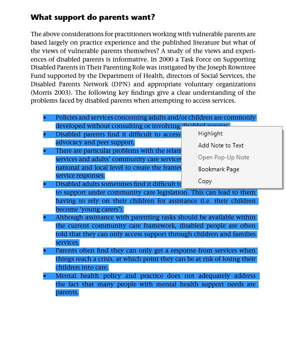 A screenshot of highlighting in Adobe Digital Editions