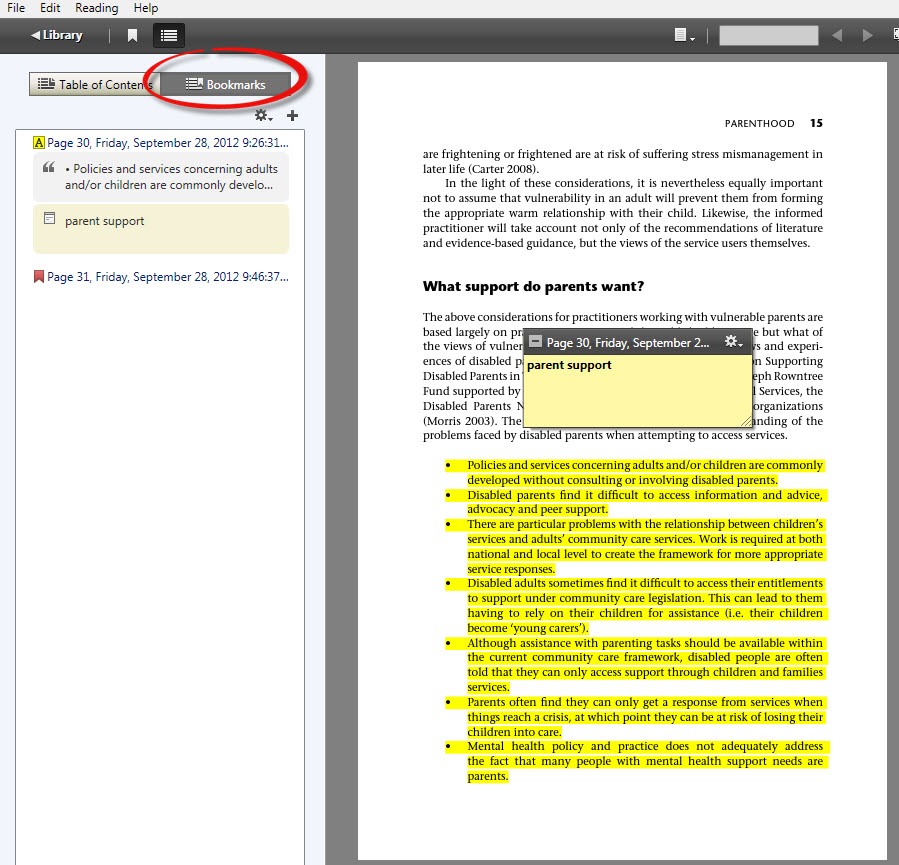 A screenshot of the bookmarks tab in Adobe Digital Editions