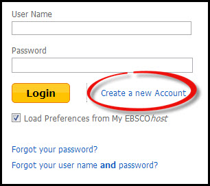 A screenshot of the Create a New Account button in  Ebsco eBook Academic Collection