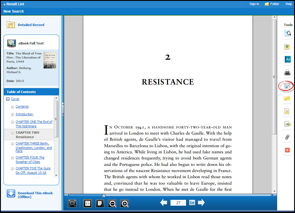 A screenshot of the email icon in Ebsco eBook Academic Collection