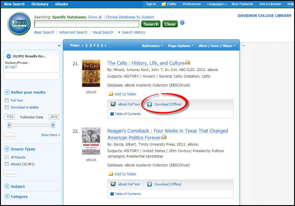 A screenshot of the Download (offline) option in Ebsco eBook Academic Collection