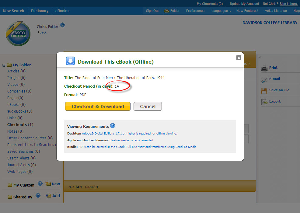 A screenshot of the checkout period in Ebsco eBook Academic Collection