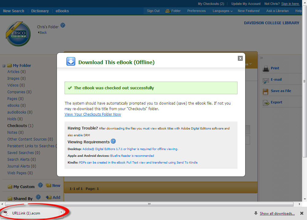 A screenshot of the successful download prompt in Ebsco eBook Academic Collection
