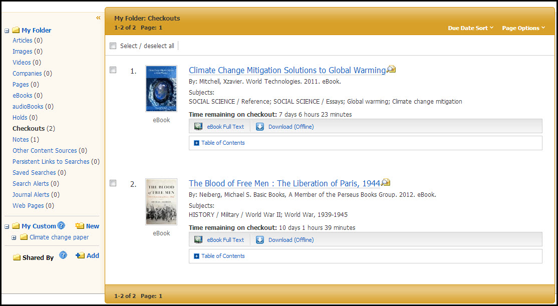 A screenshot of checked out items in the Ebsco eBook Academic Collection folder