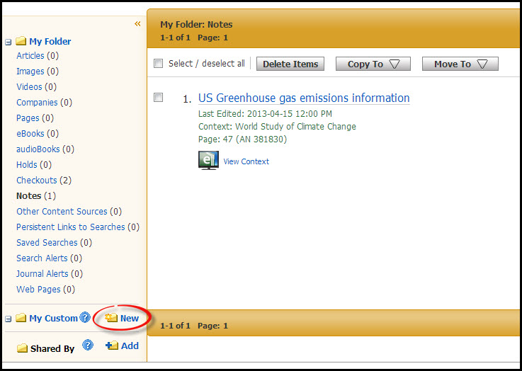 A screenshot of the new folder button in Ebsco eBook Academic Collection