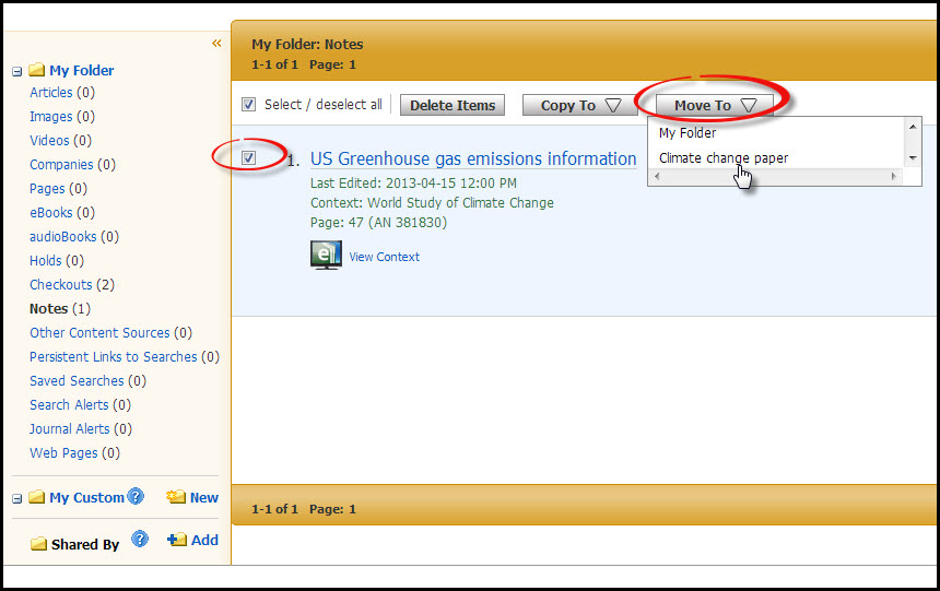 A screenshot of moving a note in Ebsco eBook Academic Collection