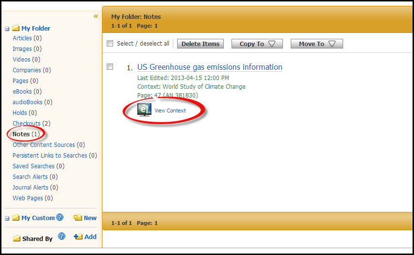 A screenshot of the view context in Ebsco eBook Academic Collection