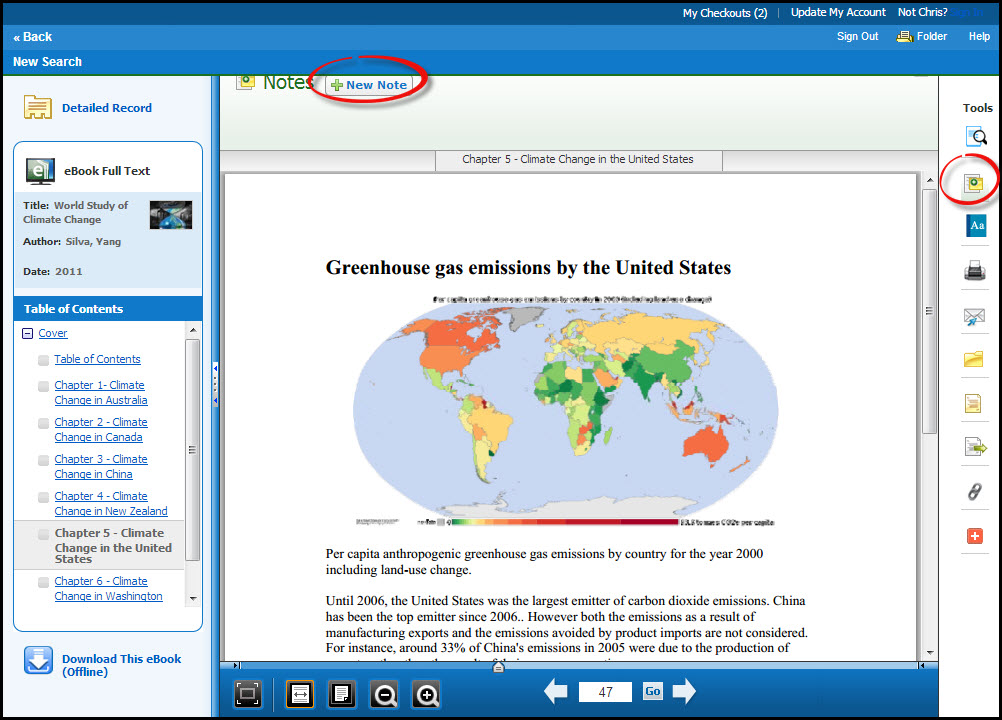 A screenshot of the Bookmark and Annotate icon and New Note button in Ebsco eBook Academic Collection