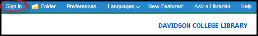 A screenshot of the sign-in botton in Ebsco eBook Academic Collection
