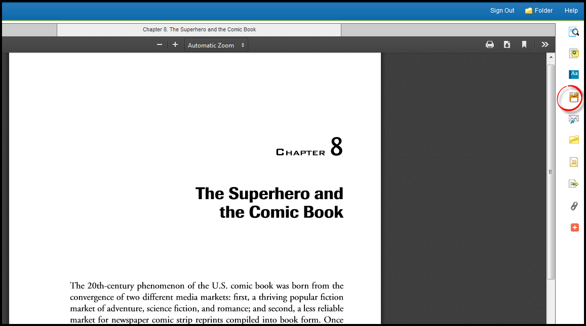 A screenshot of the print option in Ebsco eBook Academic Collection