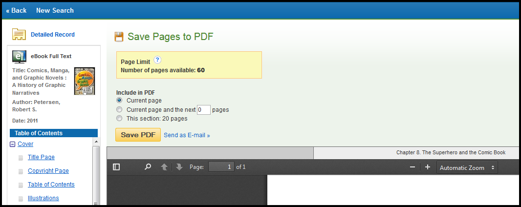 A screenshot of the page limits and maximum pages when printing in Ebsco eBook Academic Collection