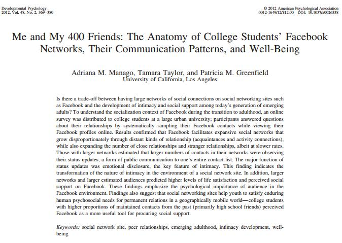 Screen shot of academic article, Me and My 400 Friends.
