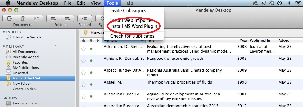 Mendeley Desktop Word Import