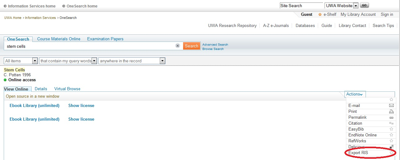 OneSearch Import