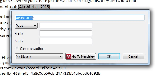 WOrd Mendeley Citation Editor