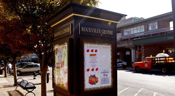 Rockville Centre information stand on street