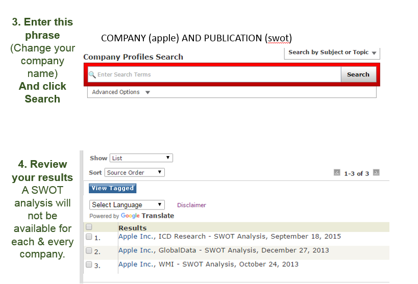 Screenshot for Lexis Nexis Company Profiles Search.  - Enter a company name and click search.
