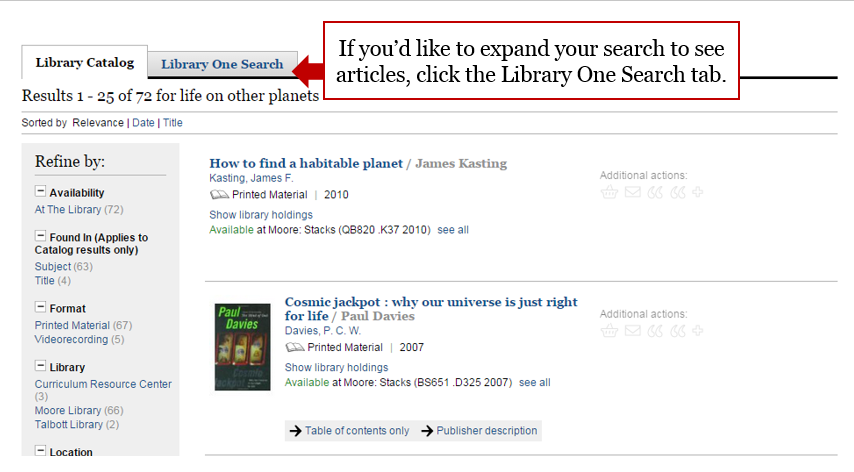 Screenshot highlighting the Library One Search tab where you can expand your search.