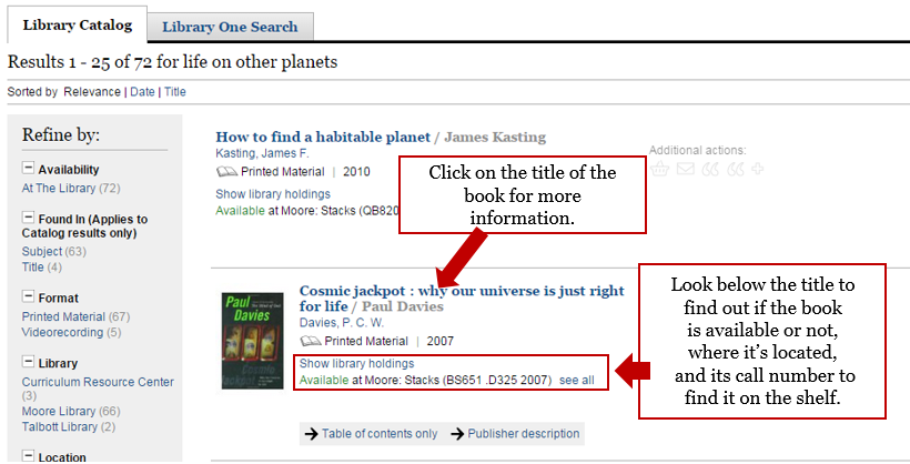 Screenshot of Library Catalog Record where you can find the call number to locate the book.