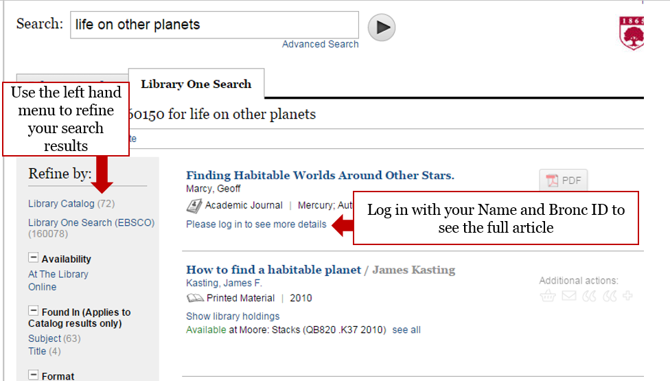 Screenshot highlighting use the left hand menu items to refine search results.