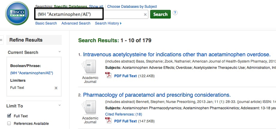 Screen shot of MeSH Search for Acetaminophen/AE