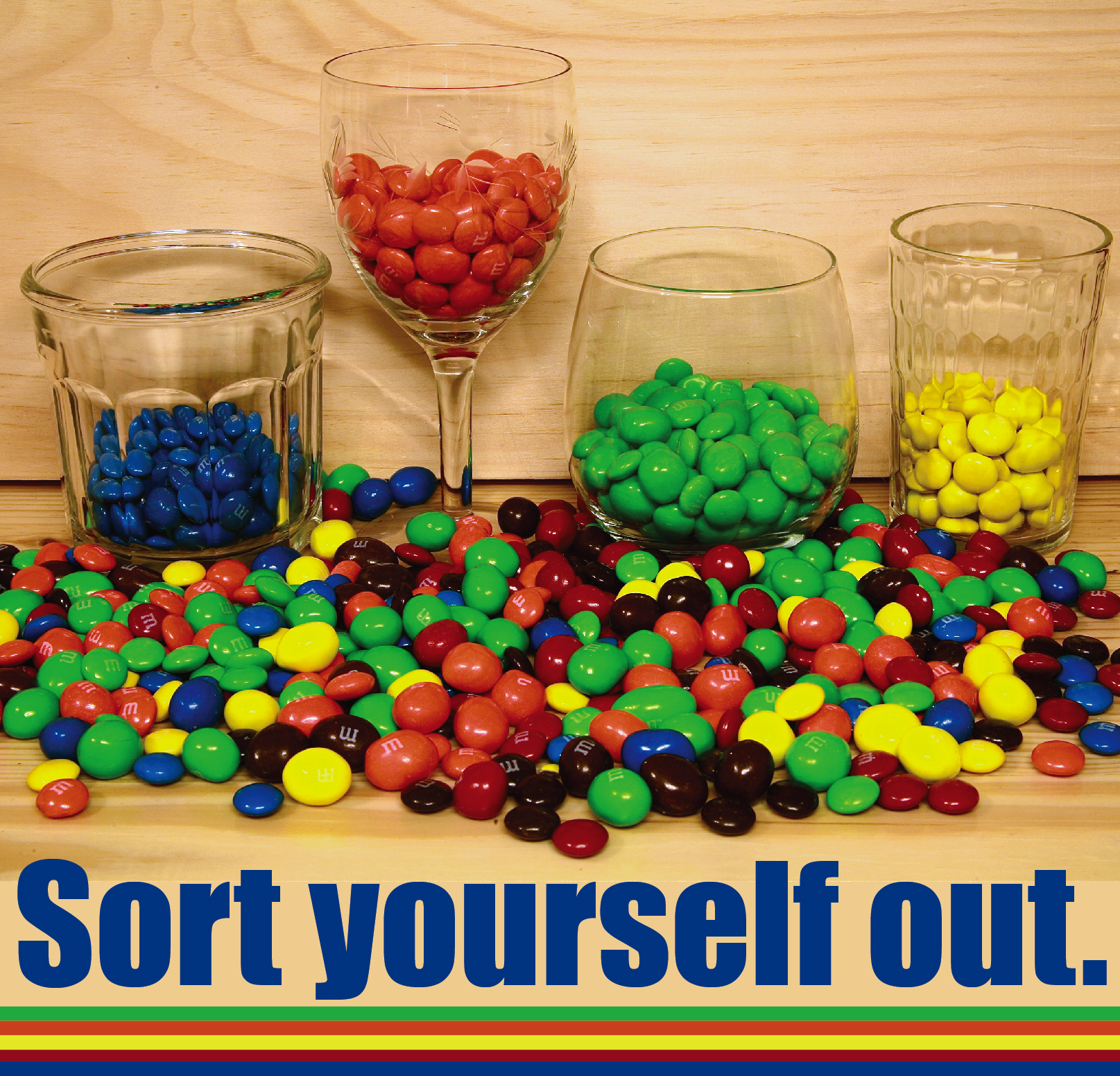 Photographs of different colored M&Ms sorted into glasses