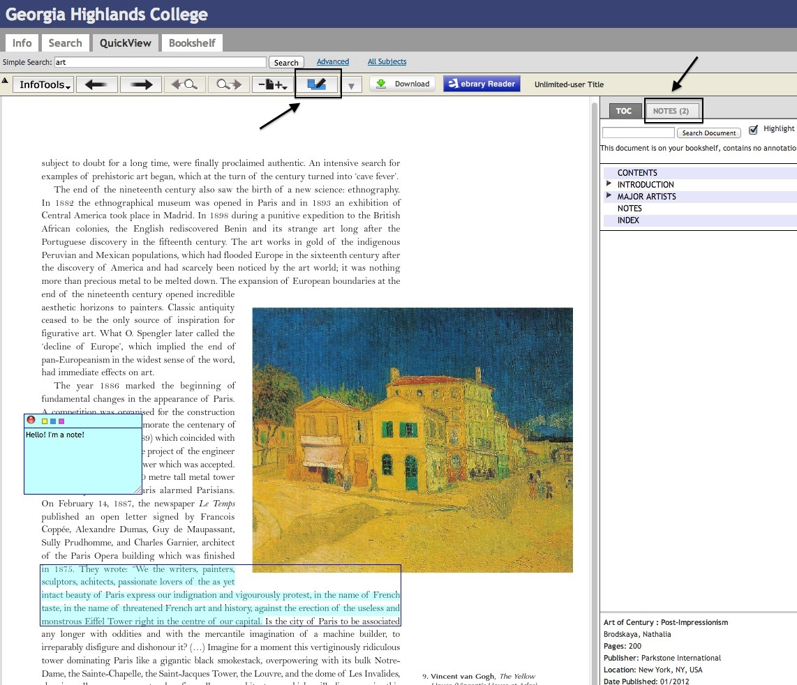 Screen shot of a page with a highlighted paragraph and note. 