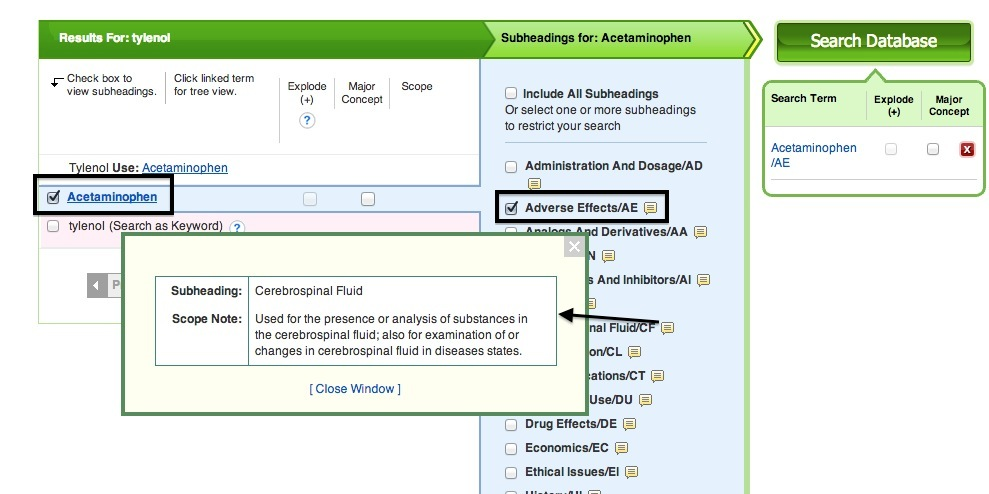 CINAHL Headings Screenshot of Acetominophen