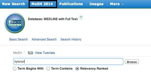 Screenshot of MeSH tutorial