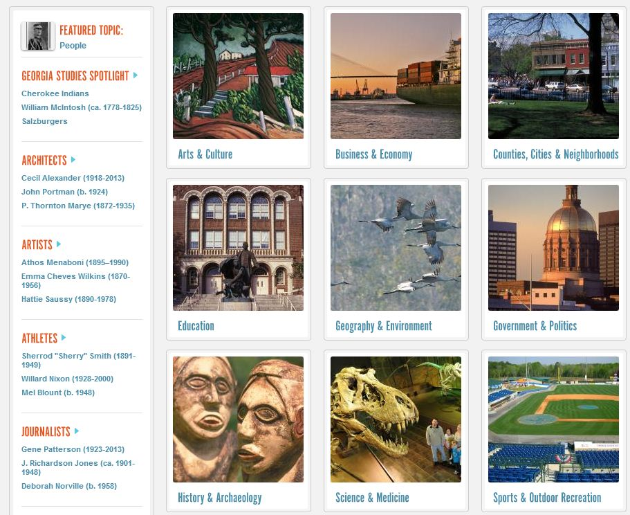 Screen shot New Georgia Encyclopedia: Shows topic pages for art & culture, counties & cities, politics & government, business & economy, geogrpahy etc