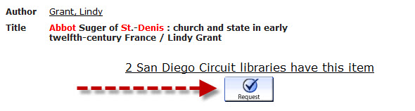 screenshot of search page in Circuit with an arrow pointing to the request button under the item's details