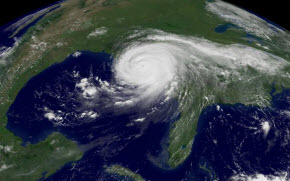 Satellite image of Hurricane Katrina.