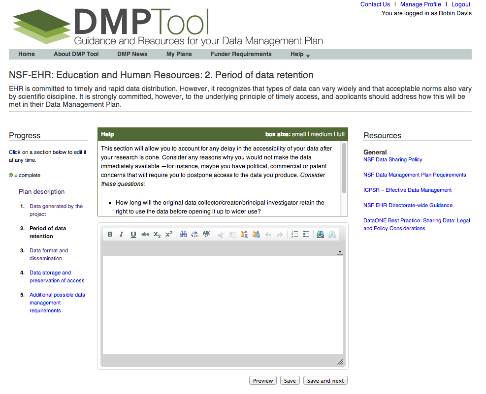 DMPtool screenshot