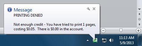 printing denied message;