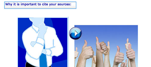 Image: Screenshot from tutorial as part of the discussion why it's important to cite information sources (linked)
