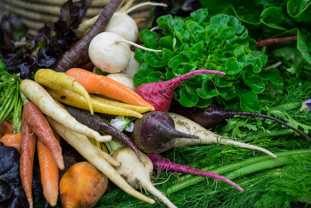 Carrots, beets, turnips; photo Courtesy of Flickr cc/Edsel Little