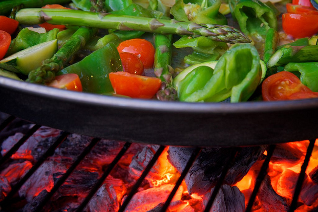 Photo of fresh vegetable is a pan on a grill Courtesy of Flickr cc/Jonathan Pincas
