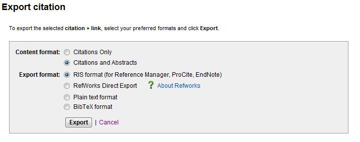 Sci Direct Export