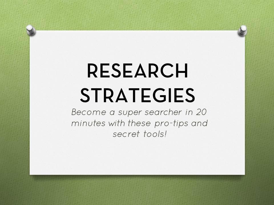 Research Strategies Tutorial