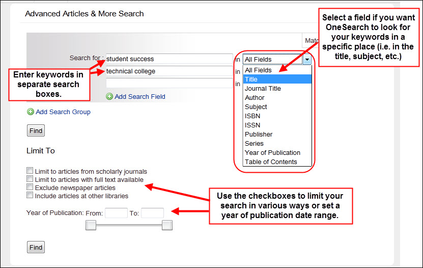 Advanced Articles & More search form, highlighting entering keywords in separate search boxes, field search drop-down menus, and other limits/search refinements.