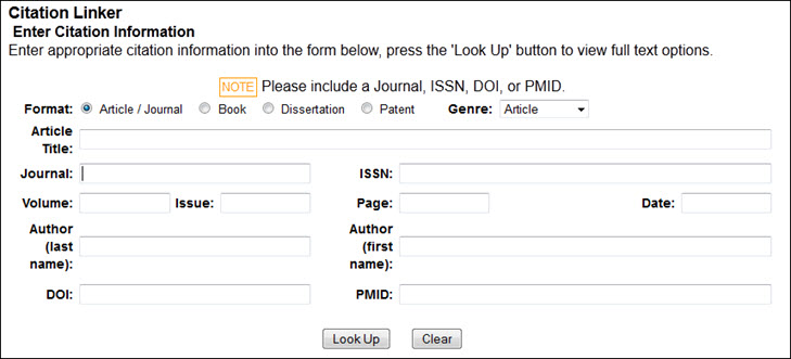 Blank article lookup form
