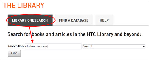 OneSearch searchbox on library website.