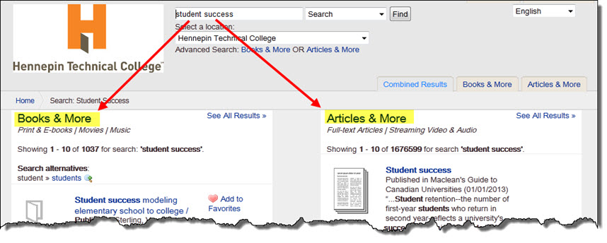 Basic Search Results in two columns: Books & More and Articles & More.
