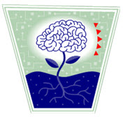 Clipart of brain growing from a flower.