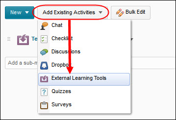 Add Exisiting Activities -- External Learning Tools link