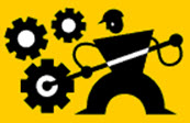 Clipart of gears and workman