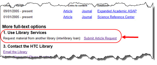 Interlibrary Loan link in OneSearch Missing Article window.