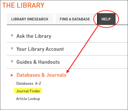 Link to Journal Finder under Library Help tab.