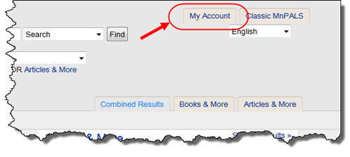 Link to Library Account login from OneSearch